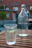 Glass and bottle of water Royalty Free Stock Images