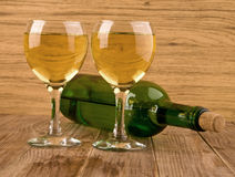 Glass and bottle of wine Royalty Free Stock Image