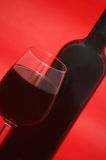Glass and bottle of wine Stock Photography