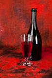 Glass and bottle of wine Stock Image