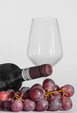 Glass, a bottle of wine and some grapes. A glass, a bottle of wine and some grapes stock photo