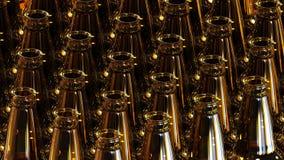 Glass bottles of beer on dark background. 3d illustration. Royalty Free Stock Image