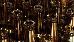 Glass bottles of beer on dark background. 3d illustration. Stock Photo