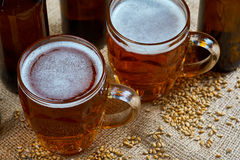 Glass and bottles of beer Stock Image