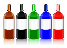 Glass Bottles with Blank Labels in Different Colors. Set of shiny glass bottles with blank labels in different colors, with the shape resembling that of chemical royalty free illustration