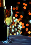 Glass and bottles of champagne. With Christmas background royalty free stock images