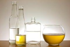 Glass bottles collection stock photos