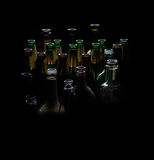 Glass bottles different alcohol, bar, glass, nobody, pub, row, bottle. Glass bottles different alcohol, bar, glass, nobody, pub row bottle beer Royalty Free Stock Photography
