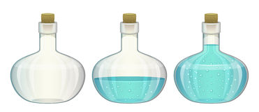 Glass bottles. Filled and empty on a white background Royalty Free Stock Photo