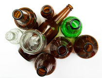 Glass bottles and jars for recycling. Royalty Free Stock Photography