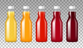 Glass Bottles With Juice. Colorful glass bottles filled with vegetables and fruits juice on transparent background realistic vector illustration vector illustration