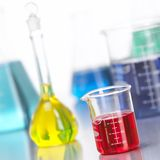 Glass Bottles in Lab with colored liquid-3 Stock Photo