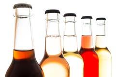 Glass bottles of lemonade and Cola Stock Photo