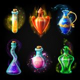 Glass bottles with a magical potion. Sealed jars of different shape with sparkling multi-colored elixir, isolated on a black background. Vector game icons vector illustration
