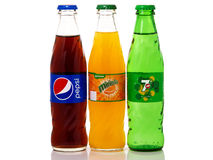 Glass Bottles Of Pepsi, Mirinda And 7up Royalty Free Stock Photo