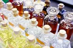 Glass bottles with oil. And liquids stock photography