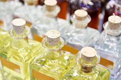 Glass bottles with oil. And liquids stock photo