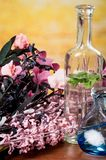 Glass bottles oils spa concept Royalty Free Stock Photo