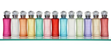 Glass bottles of perfume Royalty Free Stock Photos