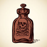 Glass bottles of poison. Vector drawing Stock Photo