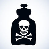 Glass bottles of poison. Vector drawing Royalty Free Stock Images