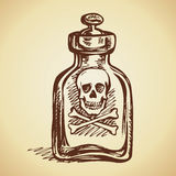 Glass bottles of poison. Vector drawing Royalty Free Stock Photos