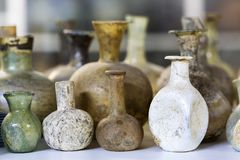 Glass bottles of the Roman period. Glass and pots of the Roman period royalty free stock photos