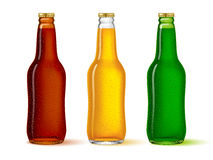 Glass bottles set of different colors with the beer on. White. There is in addition a vector format EPS 8 vector illustration