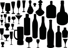 Glass and bottles silhouettes Stock Image