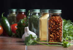 Glass Bottles Spices Royalty Free Stock Image