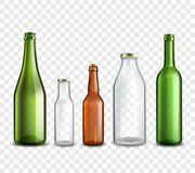 Glass bottles transparent. Glass bottles realistic 3d set isolated on transparent background vector illustration Royalty Free Stock Photography