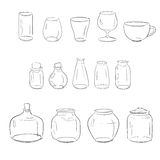 Glass bottles, vases, cups ans flasks Stock Photography