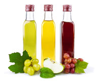 Glass bottles of vinegar. Glass bottles of three kind of vinegar with fruit and leaves isolated on white background Stock Image