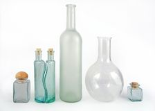 Glass bottles on white Stock Photo