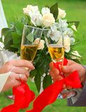 Glass and bouquet Royalty Free Stock Images