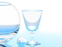 Glass and Bowl. Hi-Res rendered 3D glass, a glass ball and a bowl Royalty Free Stock Photos