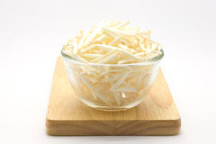Glass bowl of bean sprouts on wooden board Stock Photos
