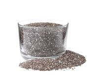 Glass bowl and chia seeds. Isolated on white stock images