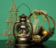 Glass bowl with Christmas decoration, Christmas lamp stock photography