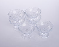 glass bowl or crystal glass bowl on background. Stock Image