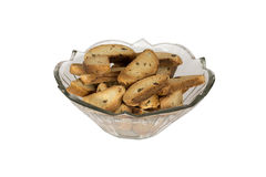 Glass bowl with dried crusts Royalty Free Stock Photography