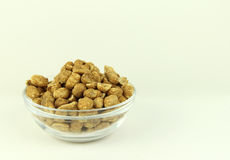 Glass Bowl of Dry Roasted Peanuts Stock Photography