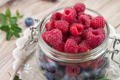 Glass bowl of fresh  berries Stock Images
