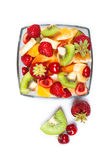 Glass bowl with fresh fruits salad Stock Photos