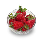 Glass bowl with fresh ripe strawberries isolated Royalty Free Stock Images