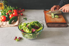 Glass bowl of fresh salad Royalty Free Stock Photo