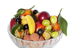 Glass bowl with fruit Royalty Free Stock Image