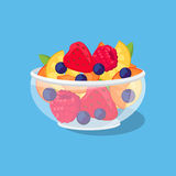Glass Bowl with Fruit and Berries Royalty Free Stock Images