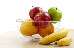 Glass bowl with fruit for diet Royalty Free Stock Photos