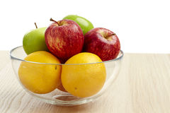 Glass bowl with fruit for diet Stock Image